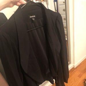 Bebe Black Flowy Peplum style blazer